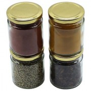 Glazzure Cute 350 ml Airtight Glass Jar Containers for Dry Fruits Spices & other Kitchen Items with Rust Proof Golden Color Caps Set of 4 pcs
