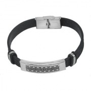 Men Style Leather Stainless Steel Sterling Silver Bracelet