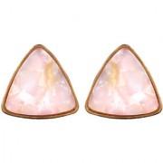 Look A like Pink Quartz Stone Triangular Shaped Stud Earrings for Women/Girls By GoldNera