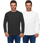 Haoser Solid Round Neck Cotton Full Sleeves T-Shirt for Men (Pack of 2 Full Sleeve T Shirts White Black)