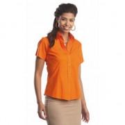 Lemon & Soda Oranje katoenen overhemd met korte mouwen voor dames
