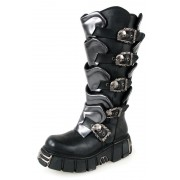 bőr csizma - Gladiator Boots (738-S1) Black-Grey - NEW ROCK - M.738-S1
