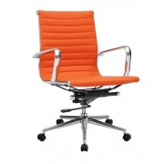 Sillón oficina de diseño Maks, giratorio, gas, basculante, similpiel naranja