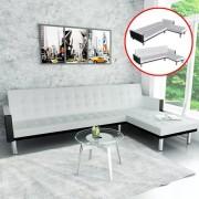 vidaXL Sofá-cama em forma de L, couro artificial, branco
