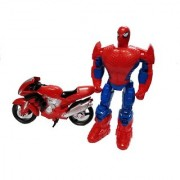 Emob Push and Go Super Action Hero Figure Toy with Stylish Motorcycle Bike for kids (Multicolor)