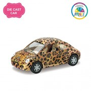 Smiles Creation Kinsmart 1:36 Scale Volkswagen New Beetle with Dashing Exterior Toy - Cheetah, Yellow (5-inch)
