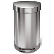 CW2030 Pedálos szemetes, 45 literes, félkör alakú, rozsdamentes