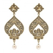 Kiyara Accessories Fashion Jewellery Royal Gold Pearl Drop Traditional Earrings with High Gold plating for women and gir