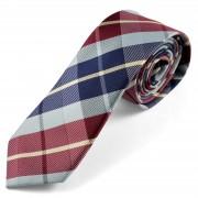 Tailor Toki Blaue Bordeaux Schottenkaro Krawatte