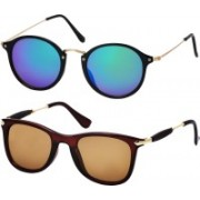Freny Exim Wayfarer, Round Sunglasses(Multicolor, Brown)