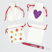 Mini Drawstring Bags - 6 mini pouch bags made from plain cotton with red ribbon drawstrings. Bag size 10cm x 12cm