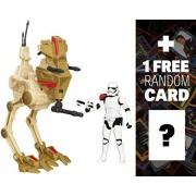 First Order Stormtrooper Officer & Desert Assault Walker: Star Wars Figure & Vehicle Boxset + 1 Free Official Star Wars Trading Card Bundle