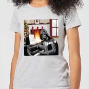Star Wars Darth Vader Piano Player Women's Christmas T-Shirt - Grey - S - Grijs