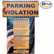 Full-Size Fake Parking Ticket by Witty Yeti 20 Pack. Both Realistic & Hilarious. Punish the Idiots Who Park Like Aholes. Hilarious Prank