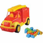 Masina de pompieri Ucar Toys, 43 cm, 38 piese constructie, in cutie