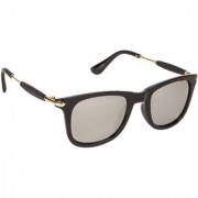 Arzonai Stone Boss Mirrored Wayfarer Shape Black-Silver UV Protection Sunglasses For Men & Women [MA-038-S12 ]