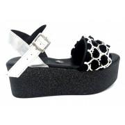 ESTRO Made in Italy Sandalo Con Zeppa Pari Con Tomaia In Tessuto E Applicazione Rose - Nero - - M-208-19