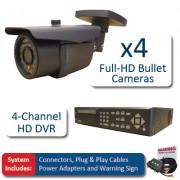 Set HD SDI 4x kamery 1080P + HD SDI DVR 4-kanálový