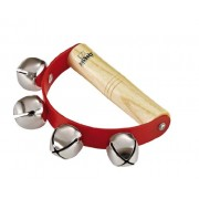 Nino Percussion NINO962 Handheld Sleigh Bells with Wooden Grip, Red