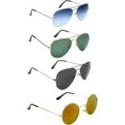 Zyaden Aviator, Round Sunglasses(Blue, Green, Black, Multicolor)