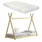 [en.casa]® Kiságy fenyőfa gyermekágy matraccal 200 x 90 cm sátortetős kialakítás fenyőfa