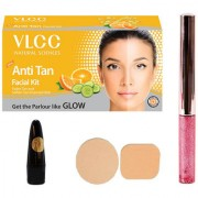 Half N Half Glitter Eyeliner VLCC Anti Tan Facial Kit Lead Free Kajal Cosmetic Puff (Combo 4)
