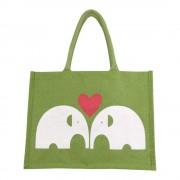 Juten Tas 2 Olifanten (Groen)