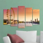 Декоративeн панел за стена с пейзаж на залез над Лондон Vivid Home
