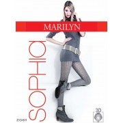 Marilyn - Patterned fishnet tights with cotton Sophia 120 DEN
