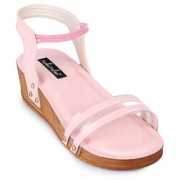 Funku Fashion Women's Ankle Strap Platform Heel Pink Wedges
