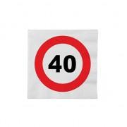 Merkloos 32x 40 jaar leeftijd themafeest servetten verkeersbord 33 cm ron - Feestservetten