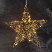 Five-pointed LED star Loop 47 cm brass
