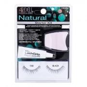 Ardell Natural 110 odstín Black sada umělé řasy 1 pár + lepidlo na řasy LashGrip 2,5 g + aplikátor 1 ks pro ženy