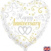 OakTree Heart 46cm Happy Anniversary Foil Helium Party Balloon (Not Inflated)