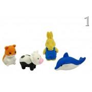 Puzzla radír szett állatos 4db 3cm 80/4025 6féle