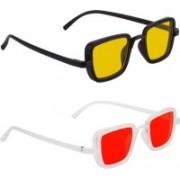 John Dior Rectangular, Rectangular Sunglasses(Yellow, Red)