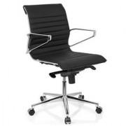 Hjh Sedia per Ufficio o Studio modello CHICAGO 10, Design elegante e moderno in vera pelle com base in metallo, colore nero