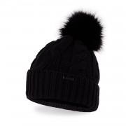 Zimowa czapka damska z warkoczem PaMaMi - Czarny