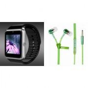 Mirza GT08 Smart Watch and Zipper Earphone for LG OPTIMUS G (GT08 Smart Watch with 4G sim card camera memory card |Zipper Earphone )