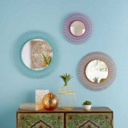 Maisons du monde 3 specchi in filo di metallo tricolore GYPSY