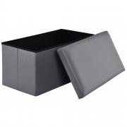 Сгъваема табуретка с място за съхранение [en.casa]® ,76cm x 38cm x 38cm, Сива