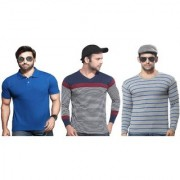 Kundan Exclusive Men's 100 Pure-Cotton V-Neck Full Sleeves Slim Fit Polo Neck Regular Fit Half Sleeves Plain T Shirt ( Pack of 3 T Shirt for Men )