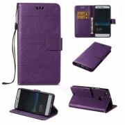 BLCR elefante patron PU + caja de la cartera de TPU para Huawei P9 Lite - purpura