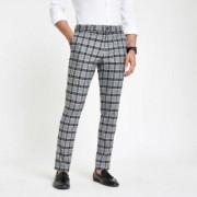 River Island Mens Grey check skinny smart trousers - Size 52 regular (