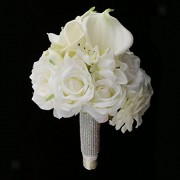 ELECTROPRIME® Gorgeous Silk Artificial Calla Rose Flower Rhinestone Bouquet Hand Flowers