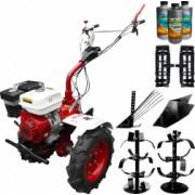 Pachet motocultor Media Line MS 9500 CF model 2019 motor 10CP freza segmentabila 80-120cm roti cauciuc rarita fixa roti metal plug
