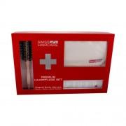 Swiss Haircare Premium подаръчен комплект четка за коса Round Brush 1 бр. + шампоан за обем на косата 200 ml + чантичка за жени