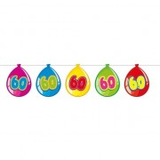 Merkloos 60 Jaar verjaardag leeftijd versiering ballon slingers van 10 meter