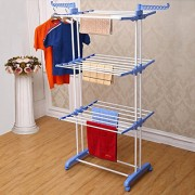 Kawachi Heavy Duty Double Pole Cloth Drying Stand Laundry Rack Stand Weight Carrying Capacity Above 40 KG - Blue
