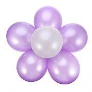 6 Set of Balloons with Flower Shape Balloon Clips and Ribbon for Wedding Event Decorations Birthday Party Supplies (Purple and White)
